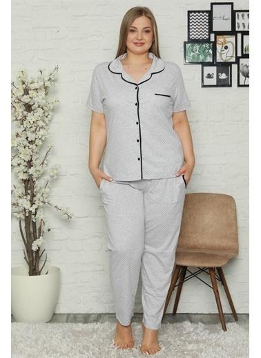 Akbeniz Kadın Pamuklu Cepli Kısa Kol Büyük Beden Pijama Takım 202067 Gri
